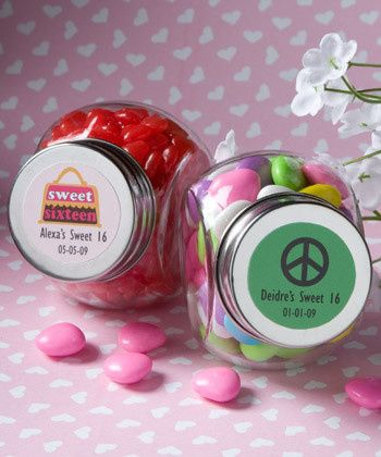 Personalized candy jars. Wonderful for that Sweet 16 or Baby shower.