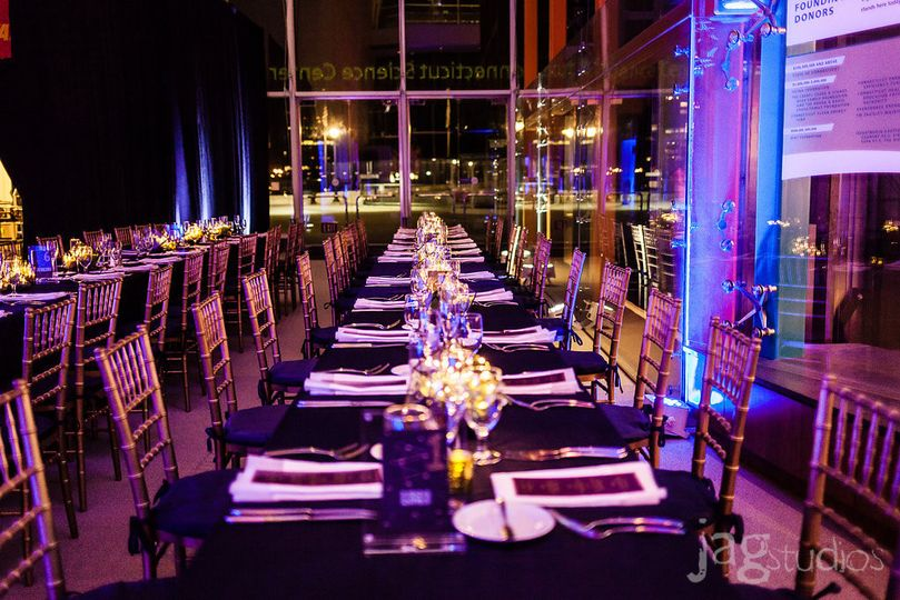 Connecticut Science Center Wedding.  Uplighting and Banquet Table Setup.   Succulent Centerpieces