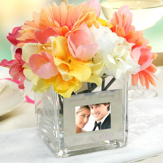 personalized glass vase with photo frame