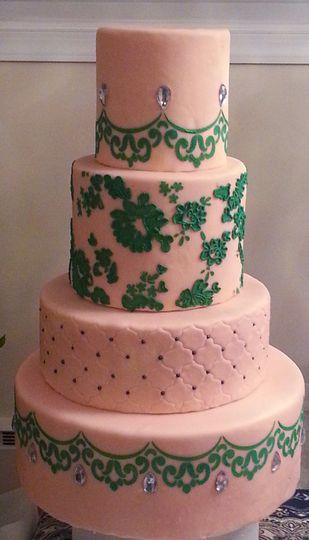 Blush Pink and Green Cake