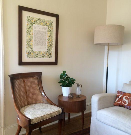 branches ketubah print framed