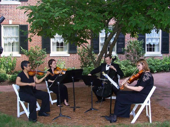 Our string quartet in the Ann Hill Courtyard of the Carolina Inn for a lovely summer wedding.