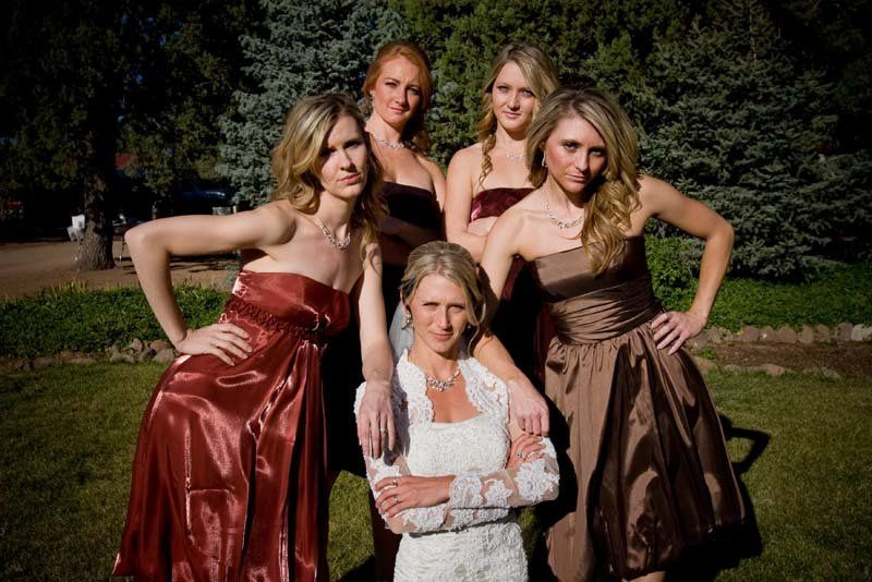 Bridesmaids looking after the bride