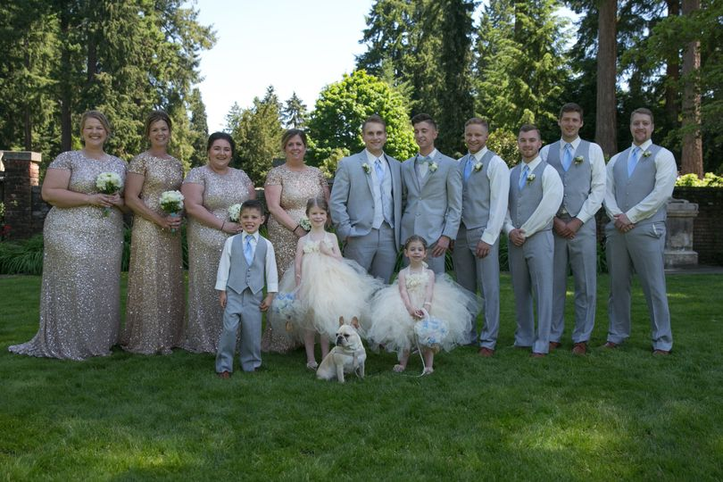 Newlyweds and their wedding party