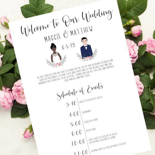 Wedding welcome sheet