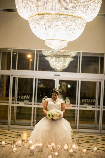 Bride under Chandelier