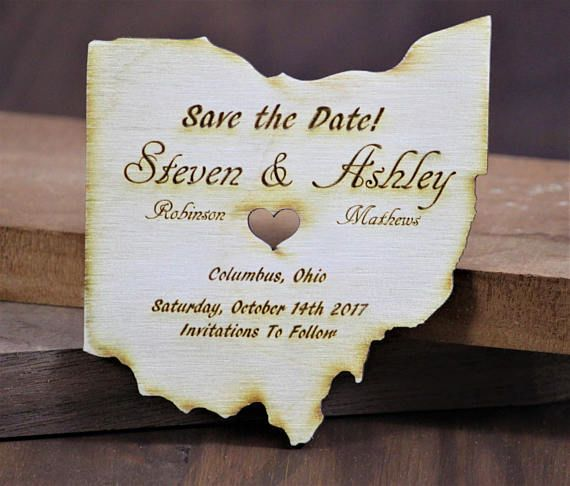 Custom Engraved and Cut Wood Save the Date Magnets!