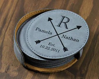 Custom Leather Style Coasters, a Perfect Gift or Wedding Favor!