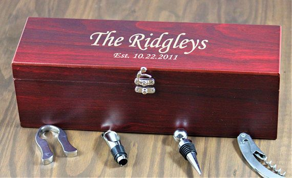 An engraved wine box with accessories make the best gift for the wine lover in your wedding party,...