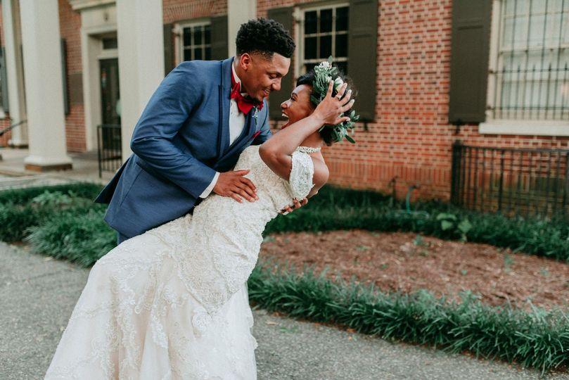 Celebrating their wedding
