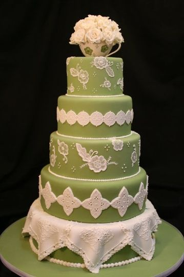 Green lacework cake
