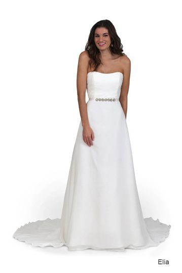 Simple strapless wedding gown