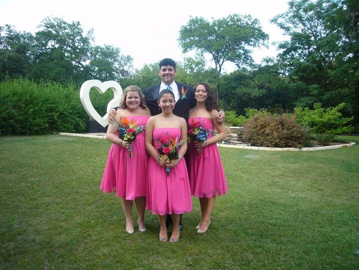 The groom with his bridesmaids