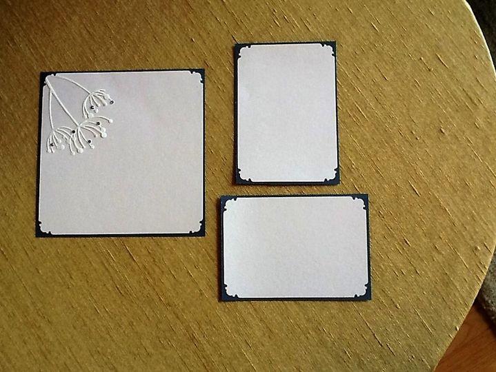 Pale Pink/Gray embossed  blossom /Swarovski  crystals. Matching RSVP/Reception cards.  Enveloped...