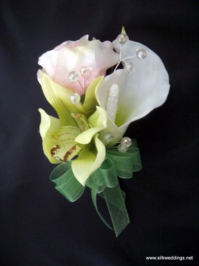 Cymbidium Orchid, Calla Lily and Rose corsage