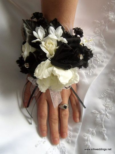 Black and White wrist corsage