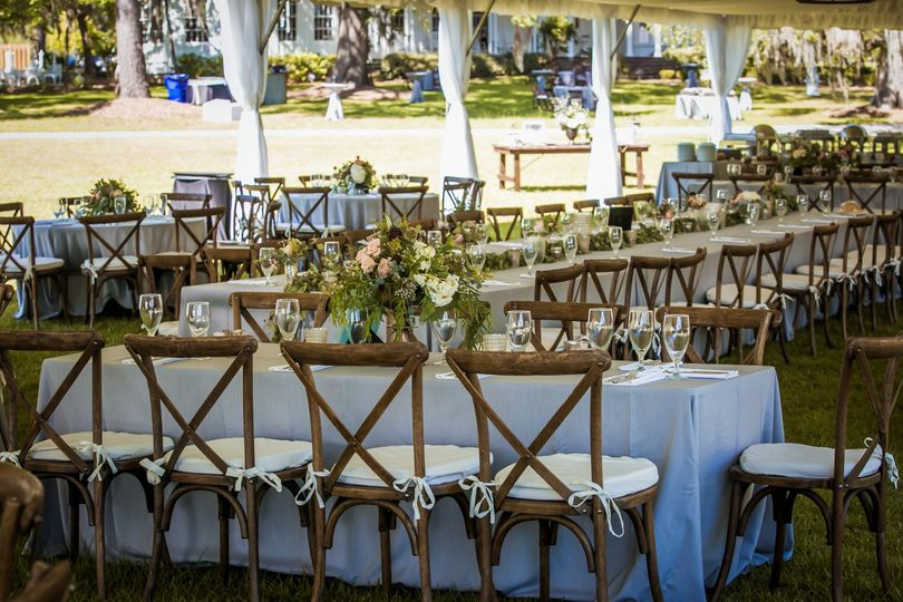 Rustic chairs for outdoor reception