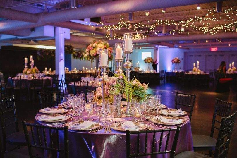 Reception with purple linens