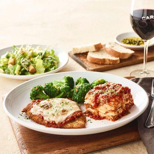 Lasagna and sides