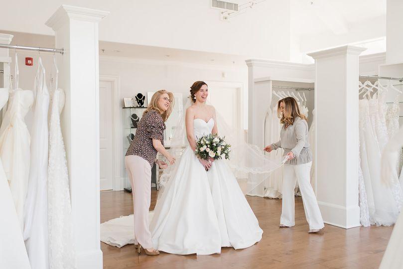 a little something white bridal salon 2 consutlants with bride 51 546461 160045716387937