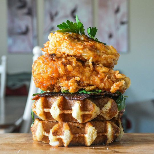 fwx sriracha chicken and waffles