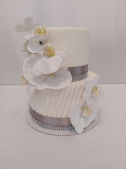 Delicious cake with floral accents