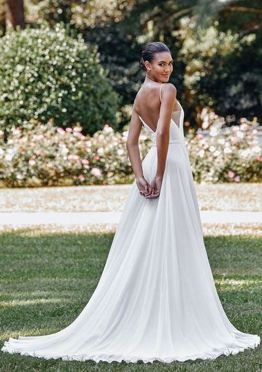 A-line v neck gown