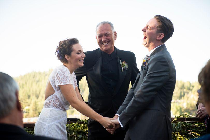 Happy couple laugh