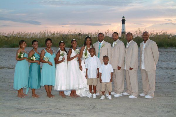 A formal look for a beach wedding.