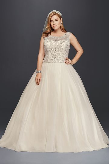 3a61fd97 Oleg Cassini Style 8CT258 Ball gown with satin bodice and organza skirt  featuring beaded and.