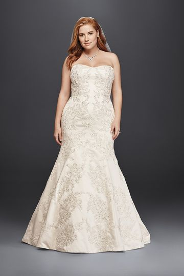 3af388bbec728c Oleg Cassini Style 8CWG594 Satin trumpet gown with sweetheart neckline and  beaded lace.