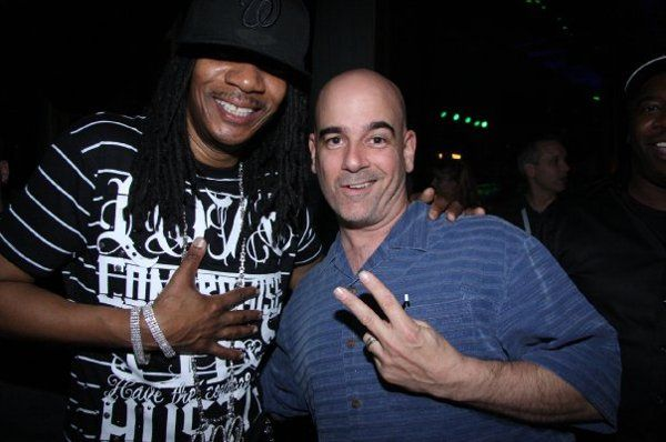 DJ Peace says hello to DJ Kool at Mobile Beat Disc Jockey Conference in Las Vegas, Nevada.