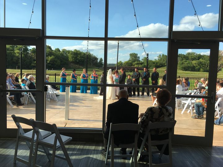 Outdoor Wedding Ceremony on Patio