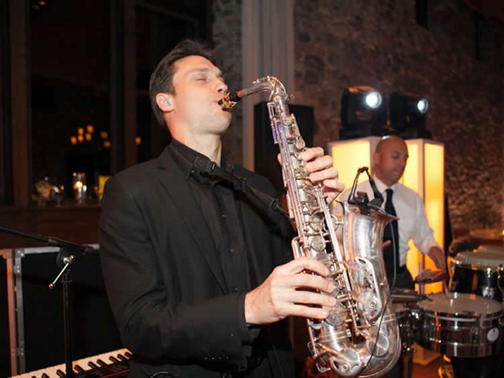 Saxophonist in full swing