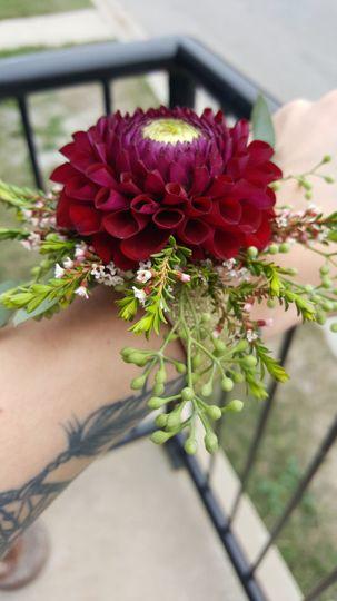 Dahlia and waxflower corsage