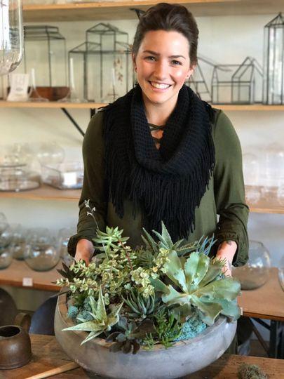 Succulent plant centerpiece