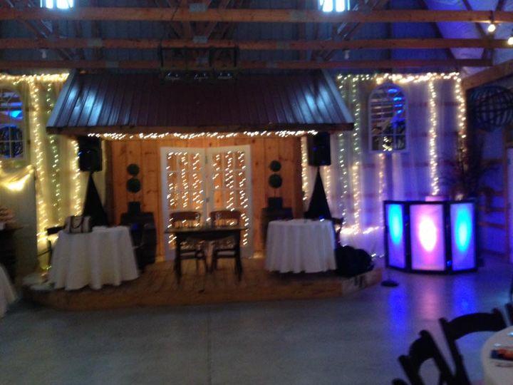 DJ booth and reception hall lighting