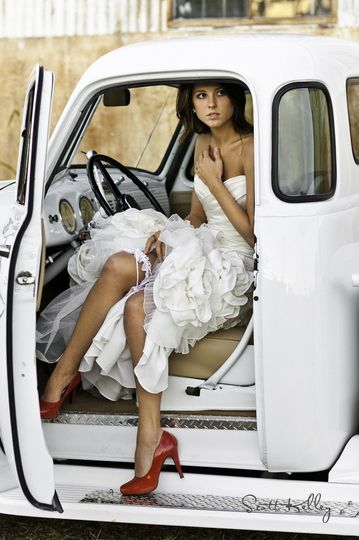 Bridal shoot with a 52 chevy