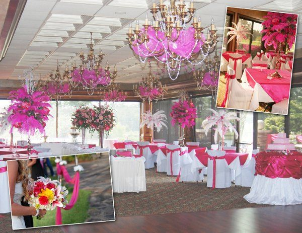 Picture contains a fresh mixed wedding bouquet, feather table top arrangements, chair covers with...
