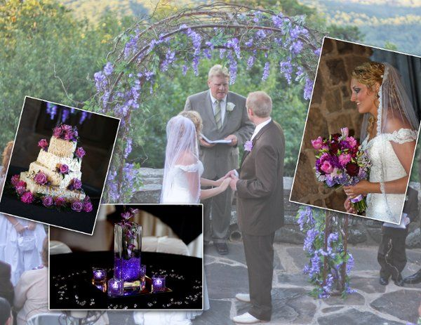 Picture contains an arch decorated with purple westeria, a purple spring mix bouquet, purple orchids...