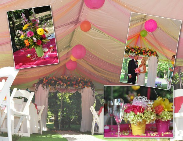 Picture contains a tent decorated with lights and multi colored tulle and paper lanterns, lighted...