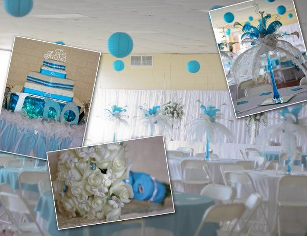 Picture contains blue and white feather arrangements in stanga vases, blue paper lanterns hanging...