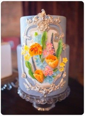 wedding cake sugar flowers roccoco parrot tulips hydrangea veronica 3-D bouquet metallic floral...