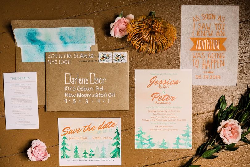 Bohemian wedding stationery