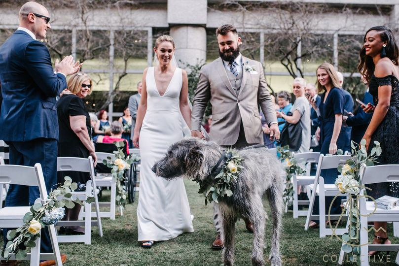 The newlyweds and a dog