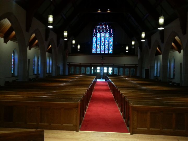 The pews in the Sanctuary