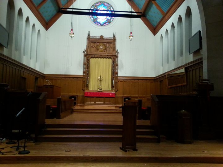 The stage/altar area in the Sanctuary