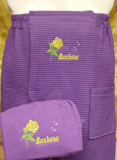 Puple shower wrap and slippers set