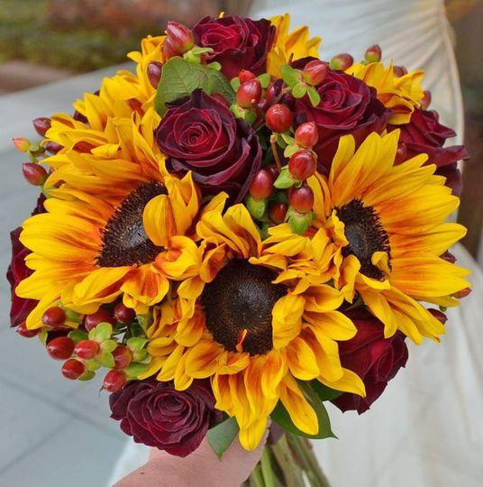 Sunflowers & burgandy roses brides bouquet