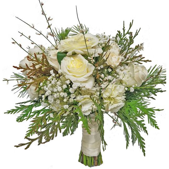 White roses with winter greens brides bouquet